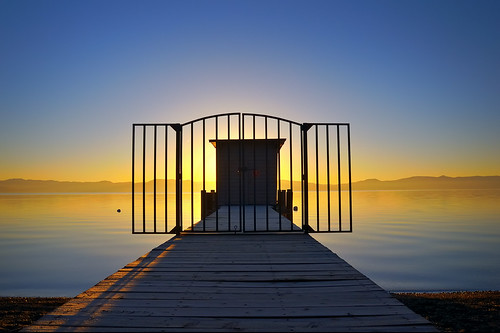 california ca door morning blue wall sunrise fence landscape gold dawn pier nikon bravo gate path tahoe laketahoe gated metaphor hdr firstlight d300 firstquality 50faves 25faves abigfave impressedbeauty infinestyle theperfectphotographer
