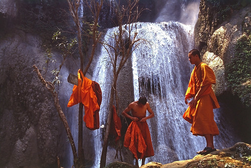 Monks at the waterfall