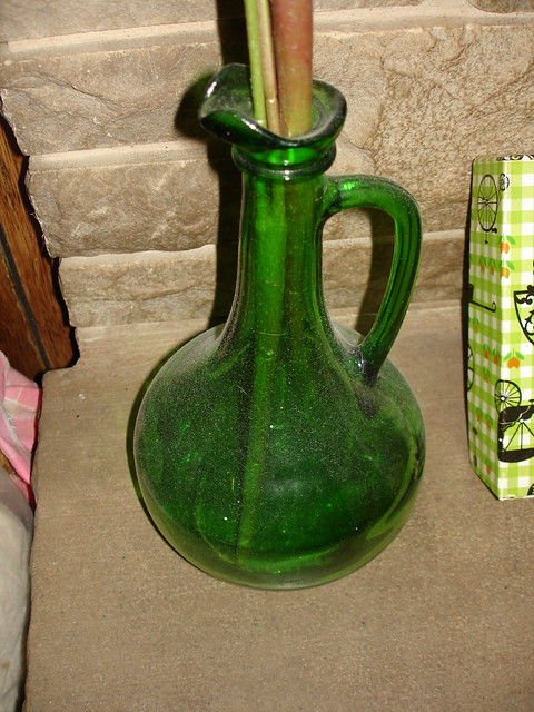 Green Glass Decanter With Whit Etched Painting