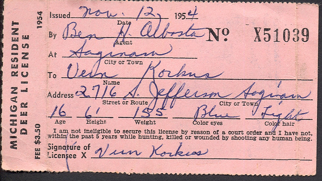 1954 michigan resident deer hunting license flickr for How much is a fishing license in michigan