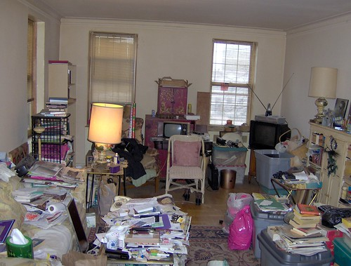 A cluttered apartment