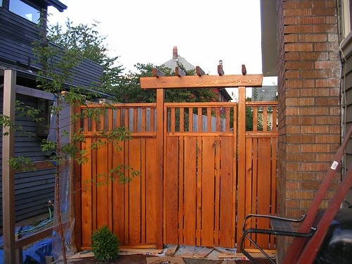 Portland bungalow renovation craftsman style cedar fence for Craftsman style fence