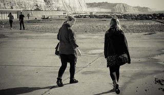 Stepping out on the Undercliff Walk