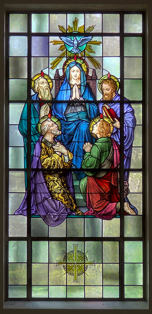 Mary Queen of Peace Roman Catholic Church, in Webster Groves, Missouri, USA - stained glass window of Pentecost.jpg