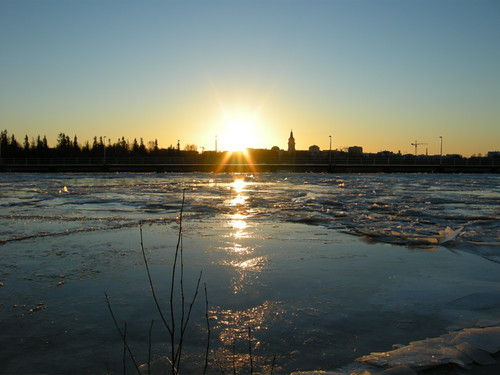 ice sunrise finland river oulu 初日の出 フィンランド auringonnousu