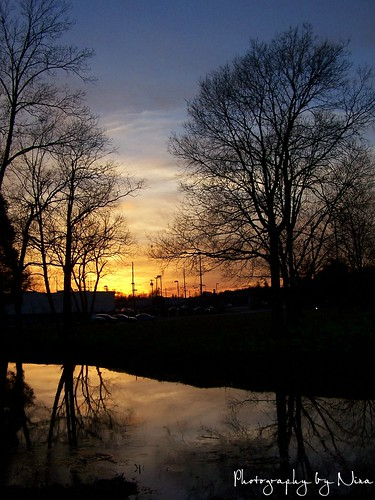 park sunset reflection