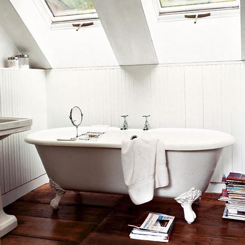 Wood Floor Bathrooms: White Bathroom, Wood Floor