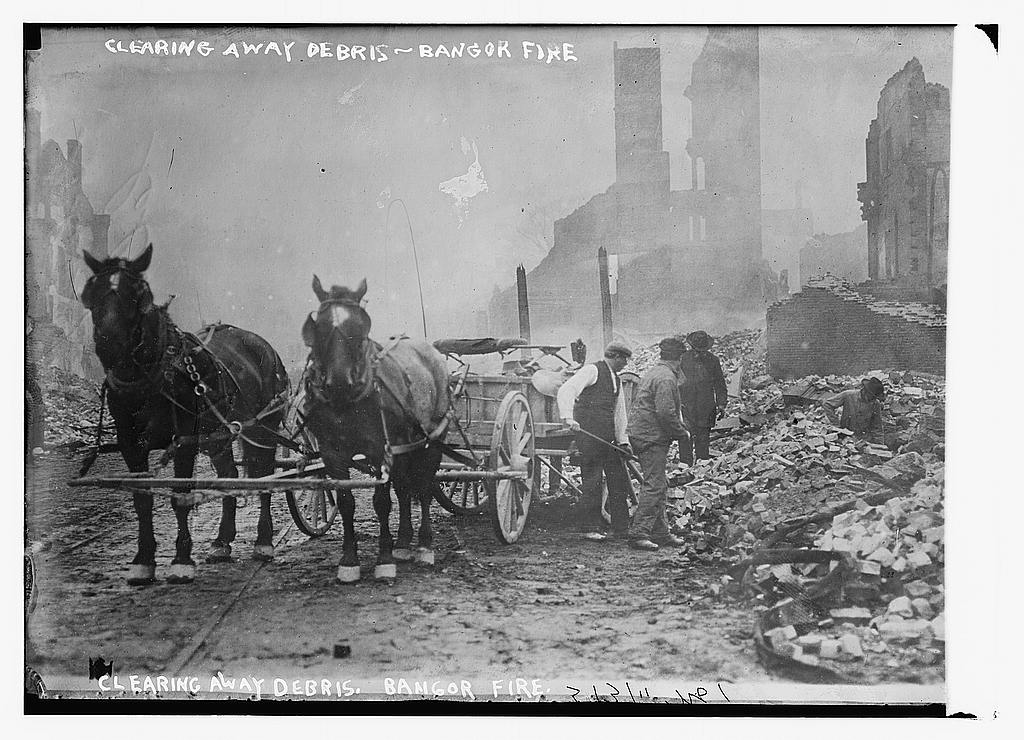 Clearing away debris, Bangor fire  (LOC)