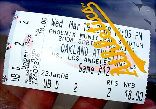 Spring Training Baseball Game Ticket - Oakland A's vs. Los Angeles Angels