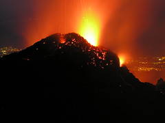 dusk(0.0), dawn(0.0), types of volcanic eruptions(1.0), mountain(1.0), lava(1.0), volcano(1.0), night(1.0), volcanic landform(1.0),