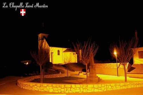 Alpes Savoie avant pays savoyard by night  photo de nuit architecture église La Chapelle St Martin
