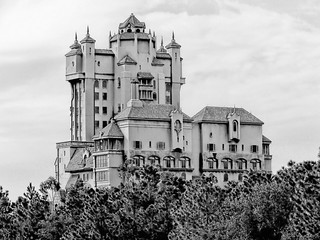 Disney - Hollywood Tower Hotel Backside Black & White