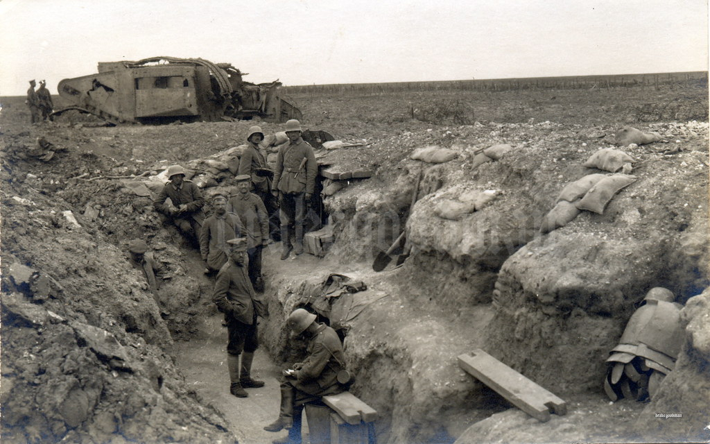 Camouflaged command post  / Trench armour near Bullecourt 1917