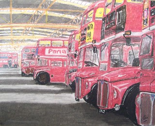 Routemasters in Upton Park garage