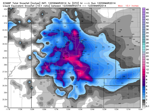 ecmew snowfall forecast colorado