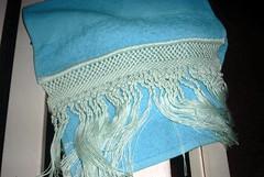 textile, clothing, aqua, turquoise, teal, azure, scarf, blue,