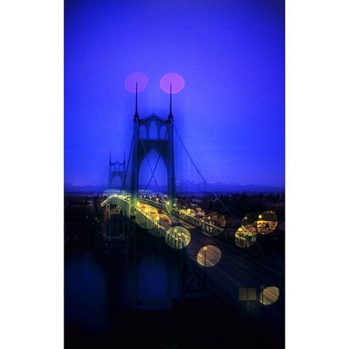 bridge blue urban oregon portland twilight cityscape dusk slide pdx nikonfm2 orton fujivelvia50 stjohnsbridge bluemooncamera zebandrews zebandrewsphotography