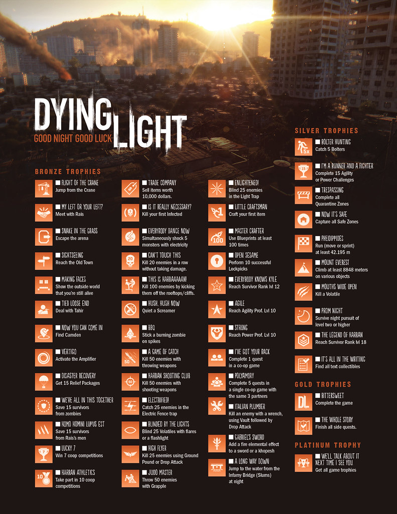 Exceptional Dying Light   Trophies/Achievements