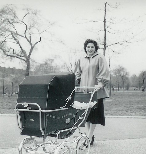1953 Frances Texin and Baby Carriage