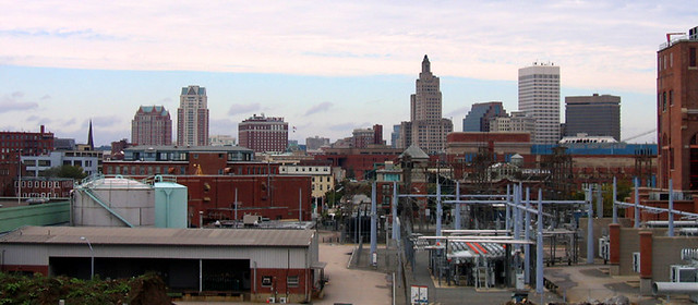 Jewelry District and Skyline from Providence River Bridge
