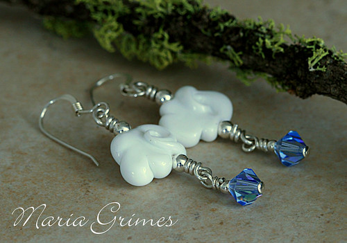Summer Rain Lampwork Earrings