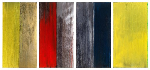 Pat Steir, Yellow and Black, Silver and Red, Silver and Black, Lemon Yellow (From left to right), 2013, Oil on canvas