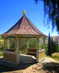 Gazebo Overlooking the Orange Groves and Cypresses of San Timoteo Canyon