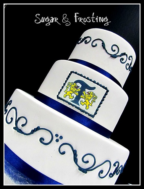 Navy Gold Scroll Wedding Cake for the Tribute Golf Course