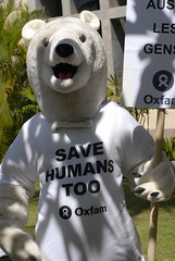 Oxfam Polar Bears protest to Save Humans Too.