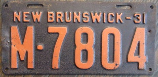 NEW BRUNSWICK 1931 license plate