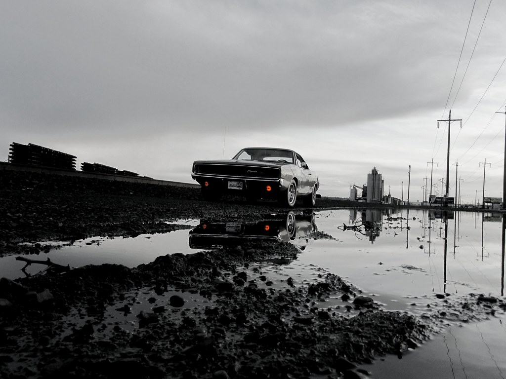 1968 Dodge Charger R T Scott Crawford White Industrial Reflection Black And Orange
