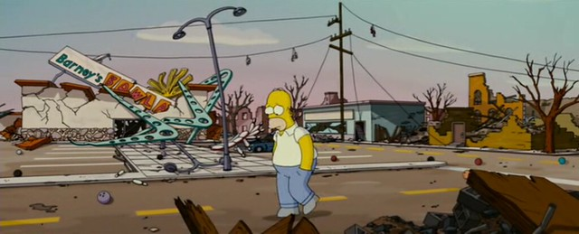 Shoefiti in Springfield - Simpson's Movie
