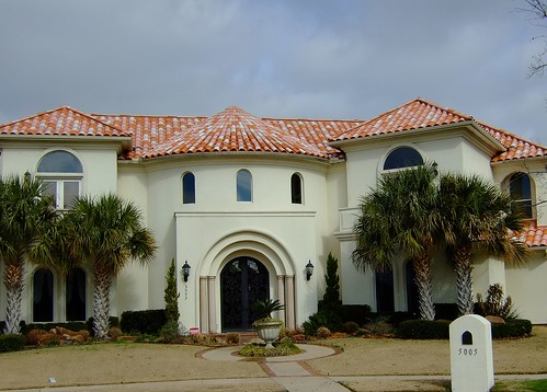 Stucco House with Spanish Tile Roof