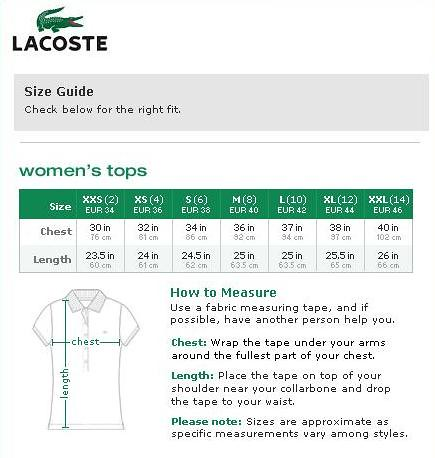 lacoste size chart for women flickr photo sharing. Black Bedroom Furniture Sets. Home Design Ideas