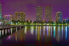 View of downtown West Palm Beach, Palm Beach County, Florida, USA