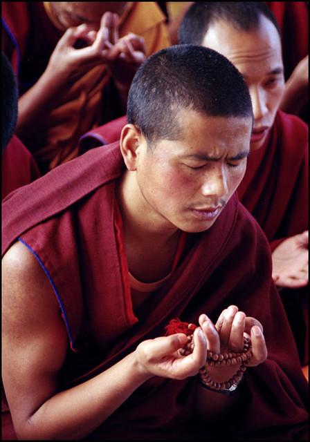 Tibetan Monk Holding Mala   Tibetan Monk saying prayers ...