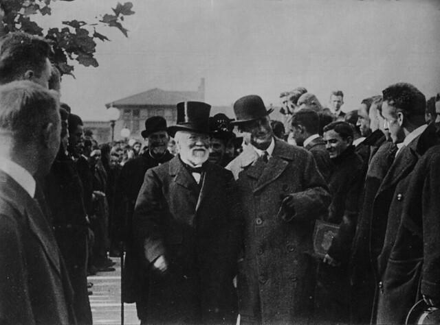 Andrew Carnegie tours campus.