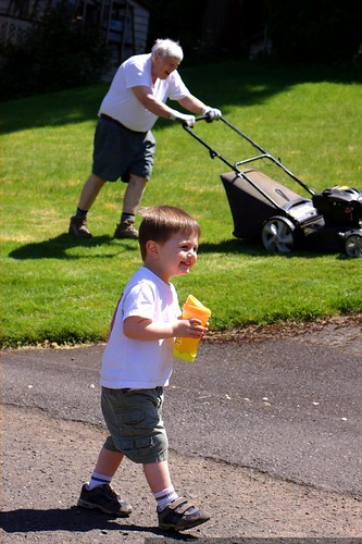 old man and toddler, both actively enjoying the sunny weather    MG 4028