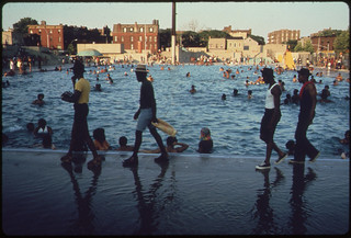 The Kosciusko Public Swimming Pool in the Heart of the Bedford-Stuyvesant District of Brooklyn in New York City...07/1974