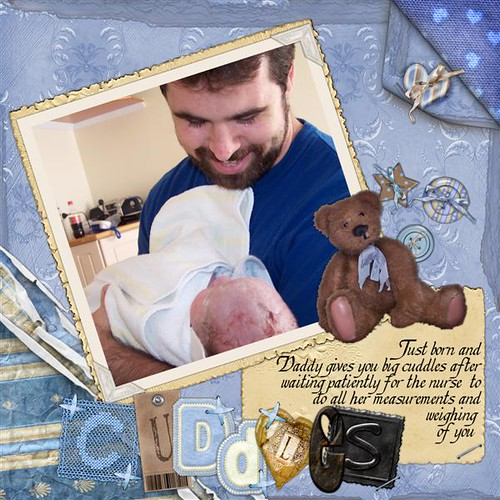 Daddy and Rohan newly born baby digital scrapbooking page