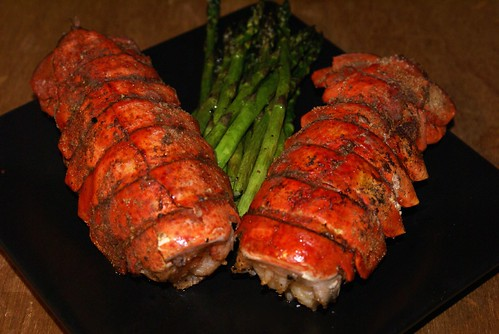 Grilled lobster tails and asparagus AGAIN.