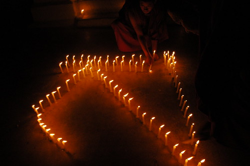 """S"" or ""sa"" in Tibetan spelled out in candles, for Sakya, Sachen Kunga Nyingpo Memorial Day, Boudha Stupa, Boudha, Kathmandu, Nepal by Wonderlane"