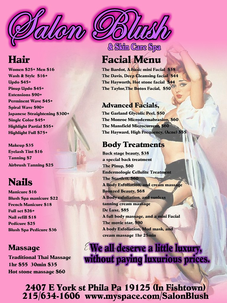 Salon blush skin care spa service menu fishtown us for A skin care salon