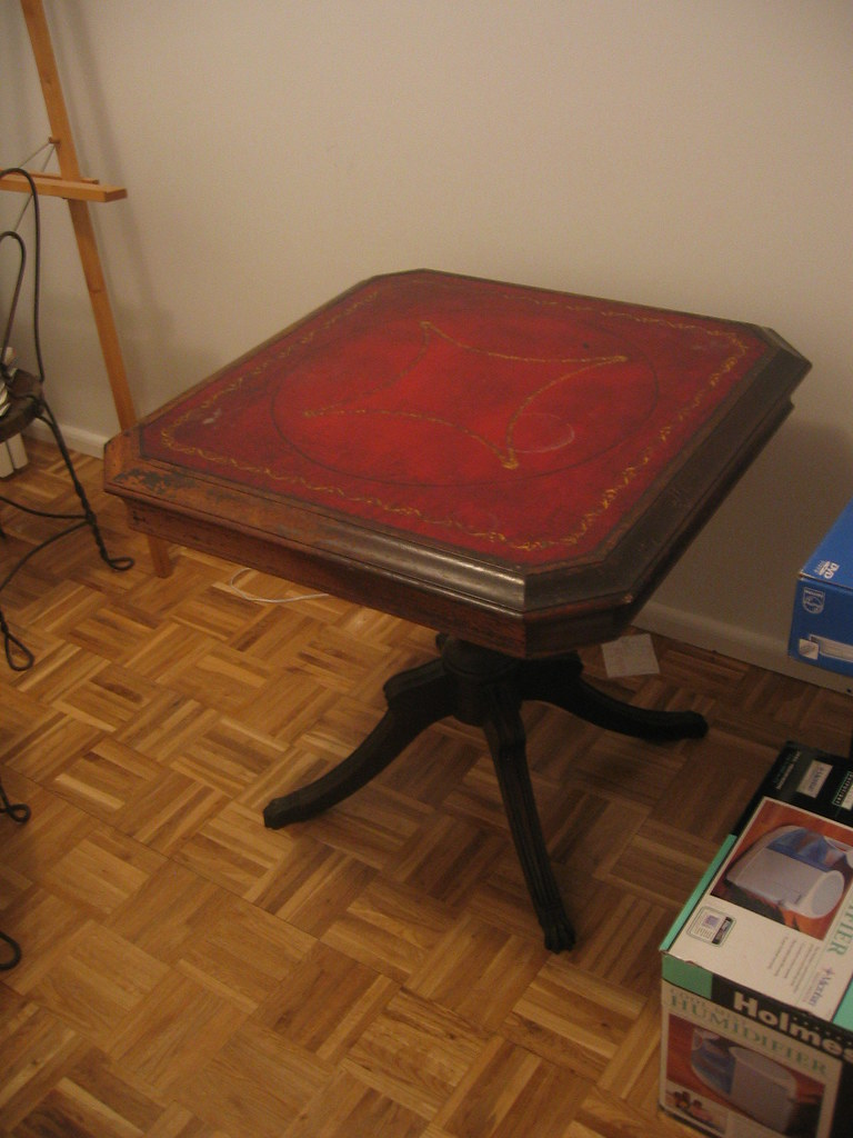 Leather Top Card Table - $40