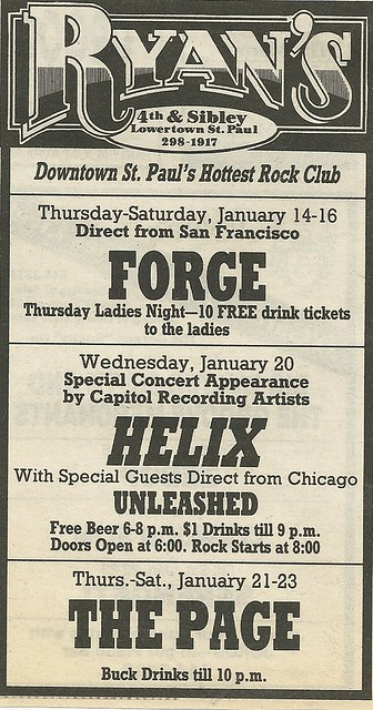 01/20/88 Helix/ Unleashed @ Ryan's, St. Paul, MN