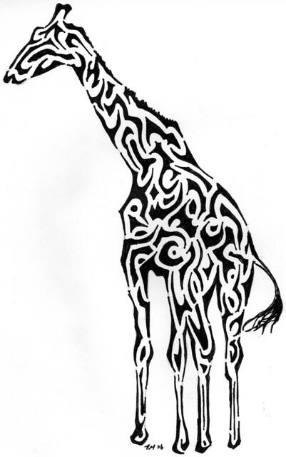 Tribal giraffe tattoo - photo#8