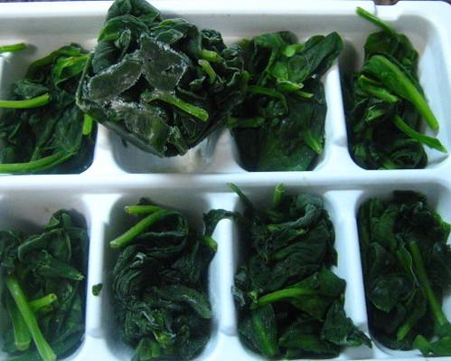 frozen cubes spinach