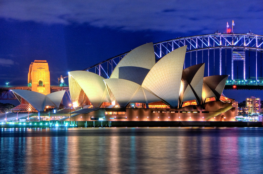 Sydney Opera House at night Close up HDR Sydney Australia