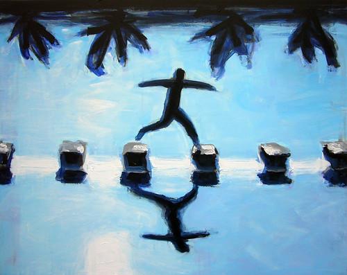 Ilustración: un hombre salta de un bloque a otro sobre el agua