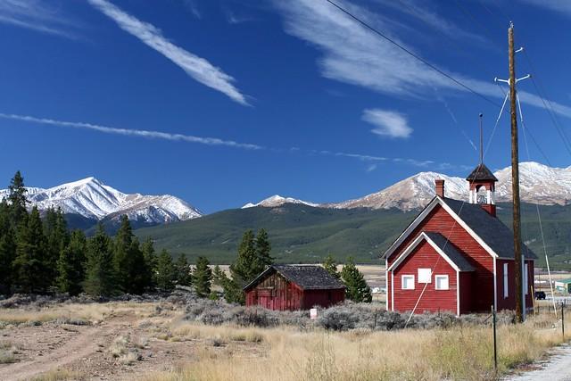 Little Red Schoolhouse near Leadville, Colorado.  Leadville is the highest